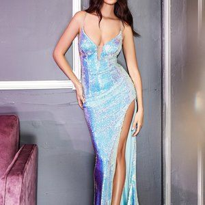 IRIDESCENT BLUE SEQUIN SEXY GOWN CDCDS395